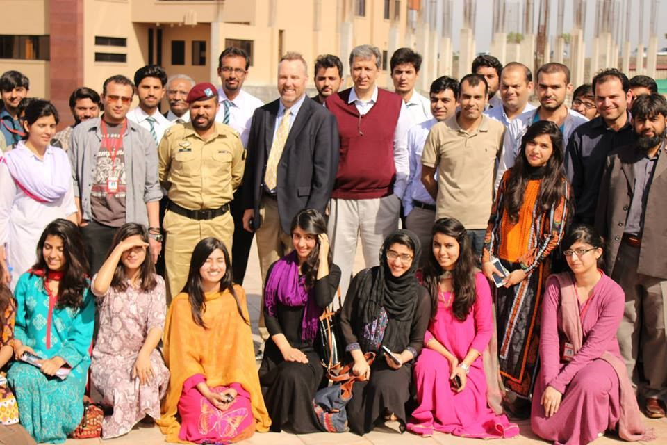 U.S. Fulbright Specialist, Dr. Chris Carr is joined by students and educators at NUST.