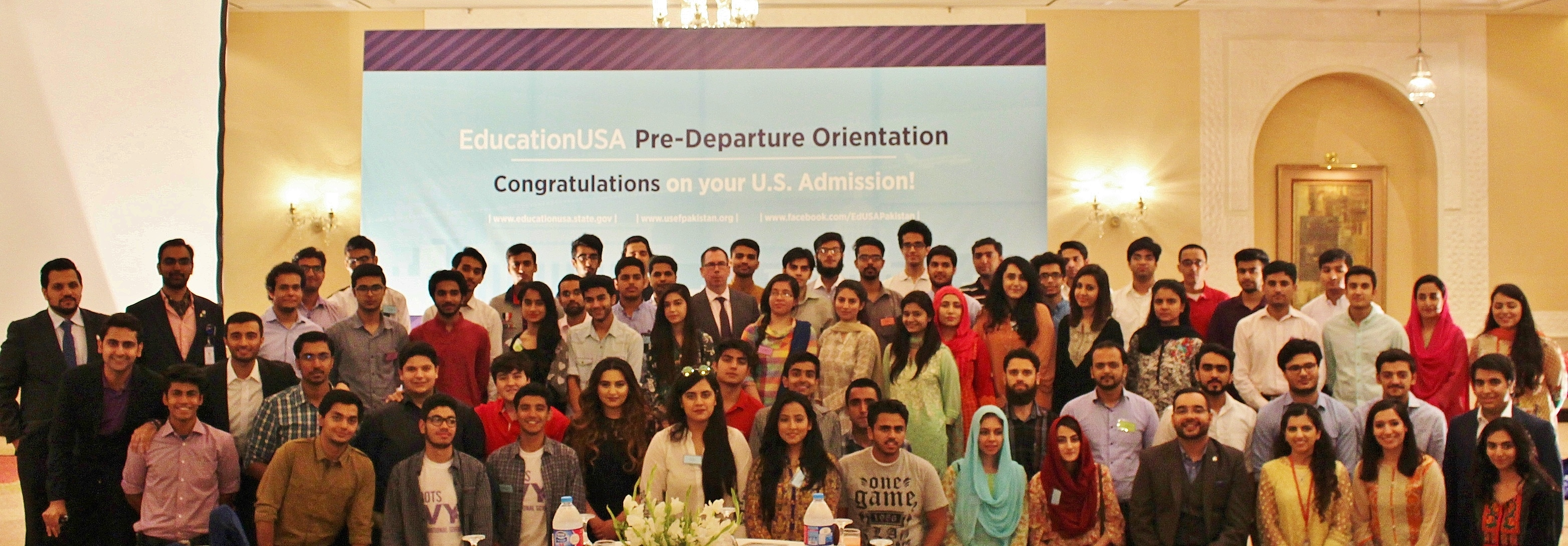 U.S. Embassy Cultural Attaché, Dr. Daniel S. Mattern, and EducationUSA Pakistan's Advising Manager, Umair Khan, with students leaving for higher studies in the United States.