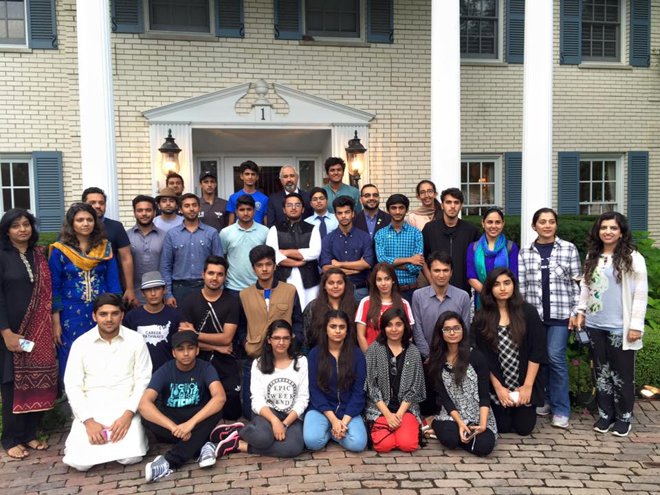 Career Pathway students posing with Pakistani Consul General Faisal Niaz Tirmizi (center, back row) in Chicago