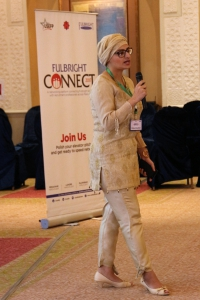Fulbrighter Uzma Rashid representing University Management Technology Lahore at Fulbright Connect in Islamabad.
