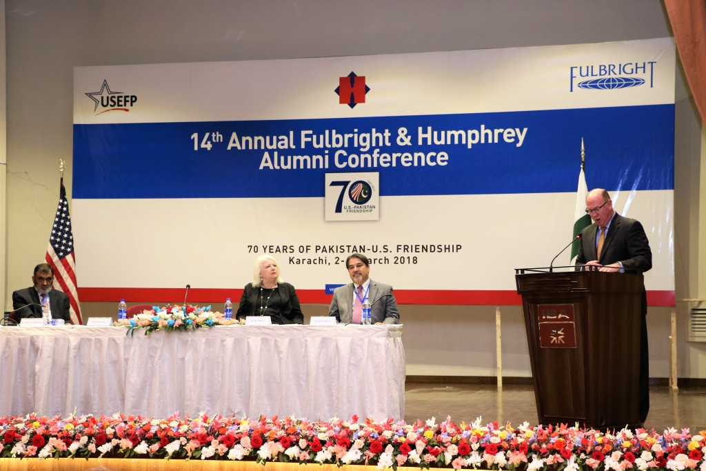 The Acting U.S. Consul General Karachi, John Warner highlights the importance of Exchange Programs and congratulates alumni on the successful conference.