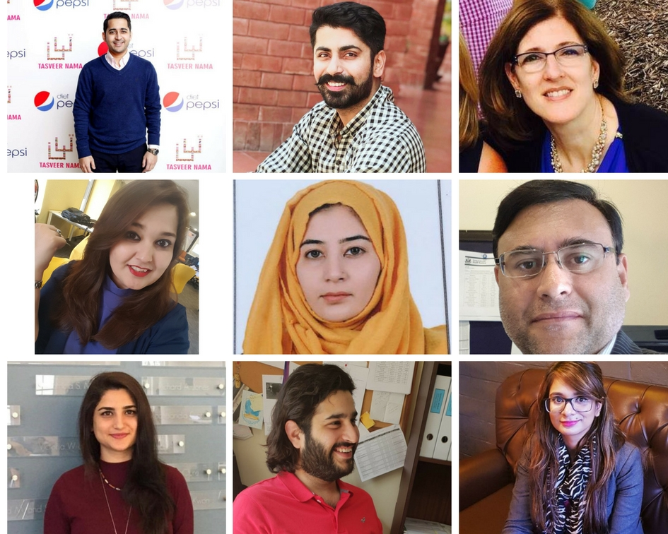 (Left to Right) top row: Aman Bashir, Ashab Hassan Lodhi, Kathy Aziz, middle row: Samana Qaseem, Mehwish Anwar, Kashif Sheikh, bottom row: Mashal Naeem Khan, Zain Arshad Chaudhry, Sundas Amjad