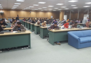Students taking the GRE mock test at University of Agriculture Faisalabad (UAF)