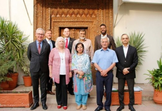 USEFP's Board of Directors (front row: from left to right) Christopher Fitzgerald, Rita Akhtar, Nighat Mehroze Chisti,Dr. Shah Jehan Khan, and Mr. Hasan Nasir Jamy. (Back row: from left to right) Dr. Christopher Steele, Matthew Singer, Syed Abu Ahmed Akif, Anthony Jones.