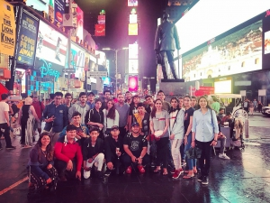 Students, counselors and advisers from the tour at Times Square, New York