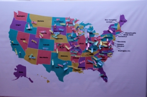 Grantees participated in an interactive activity where they tagged their destinations in the U.S. on the map