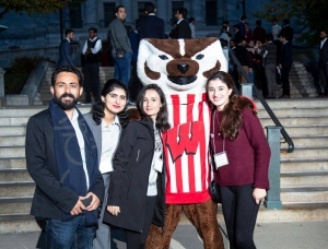 Fulbright grantees pose with the mascot at UW Madison