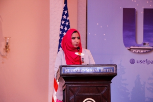 Star UGRAD alumna, Samia Farooq, addressing the departing grantees