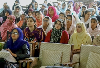 Students of Government Sadiq College Women University listen intently to the advisers