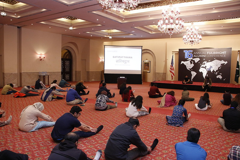 The conference featured many interesting activities including workshops on meditation for stress management, improv and comedy, and yoga and mindfulness
