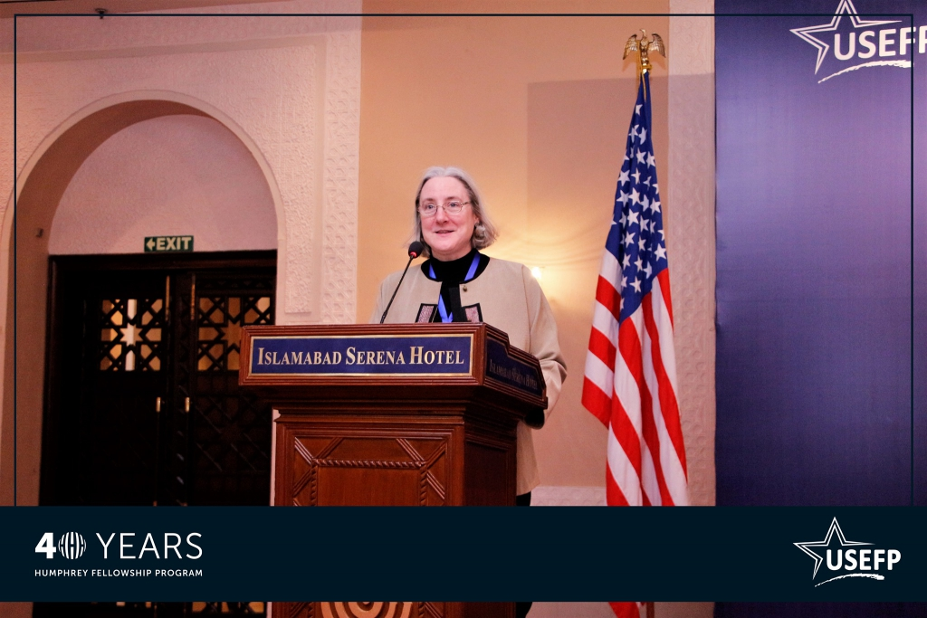 Guest of honor, Minister Counselor for Public Affairs at the U.S. Embassy, Ms. Lisa Heller, speaking about the advantages of the Humphrey Fellowship program