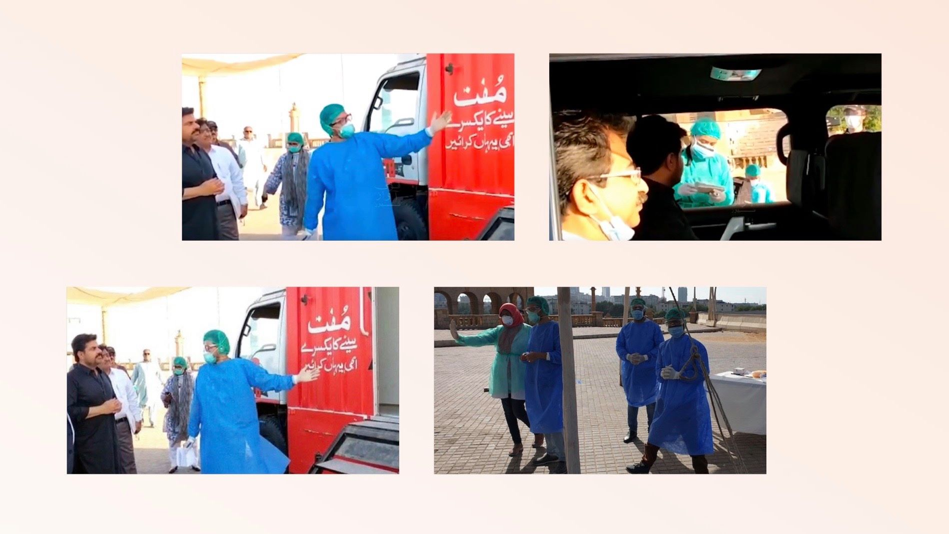 Dr. Muhammad Moiz helping set up Pakistan's first drive-thru Coronavirus testing lab
